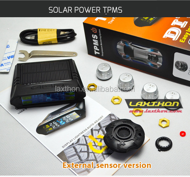 Solar power car tire pressure monitoring system wirless tpms with external sensors