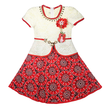 897--1Red Haolaiyuan New Arrival Princess Flower Girl Lace Dress Tutu Clothes