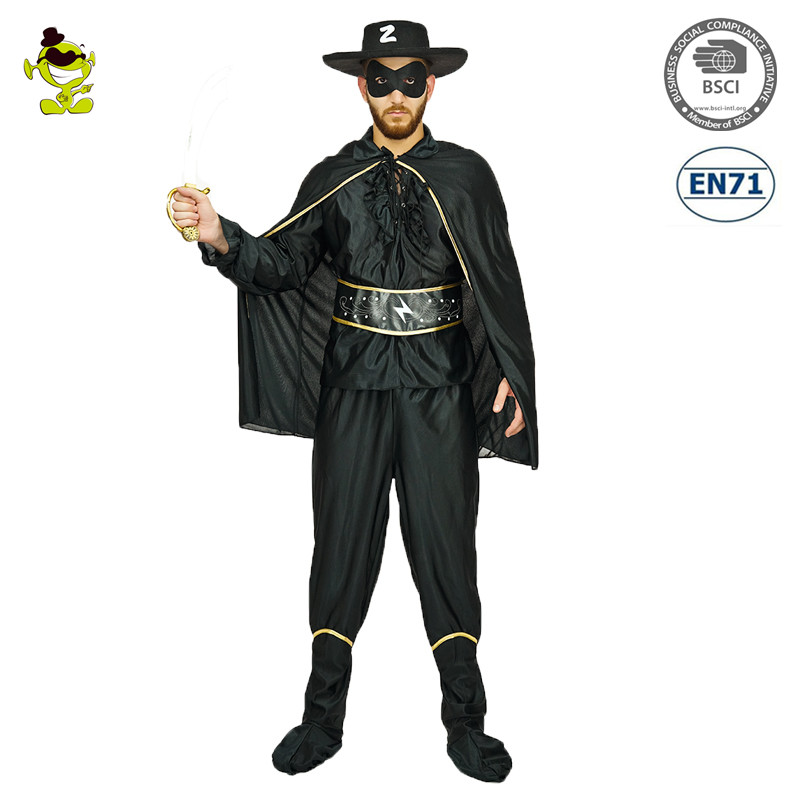 2017 Adult Men Bandit Hero Costume Black Outfit Halloween Party Fancy Dress Role Play Costumes