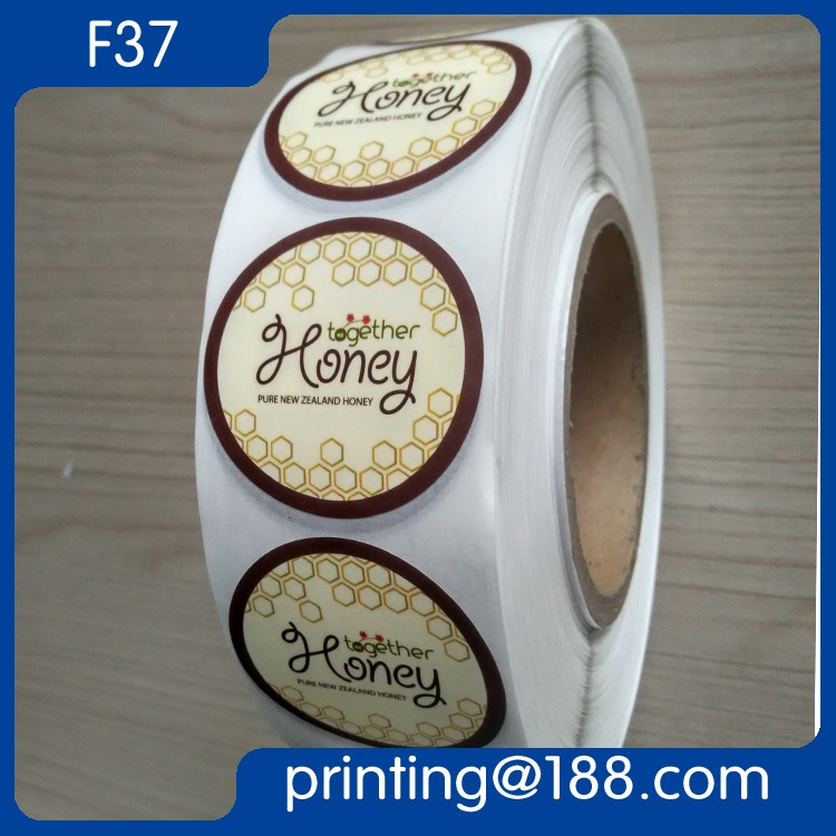 custom printed waterproof food honey label sticker