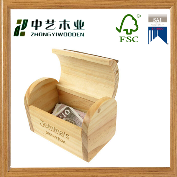 Hot sale trade assurance KD toys natural wooden car money box wooden money box