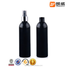 Black PET 200ml plastic round bottle with spray head for toner