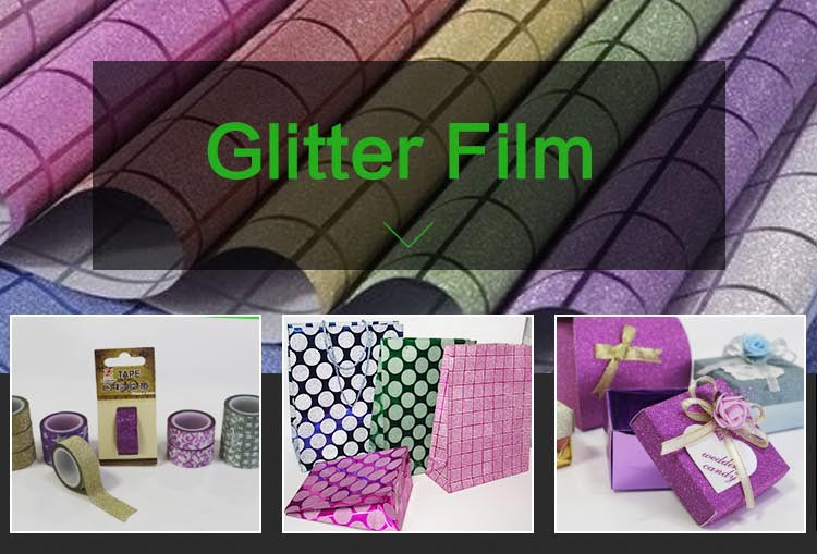 High quality Custom Pink packing used pp glitter foil for notebook paper bag adhesive tape