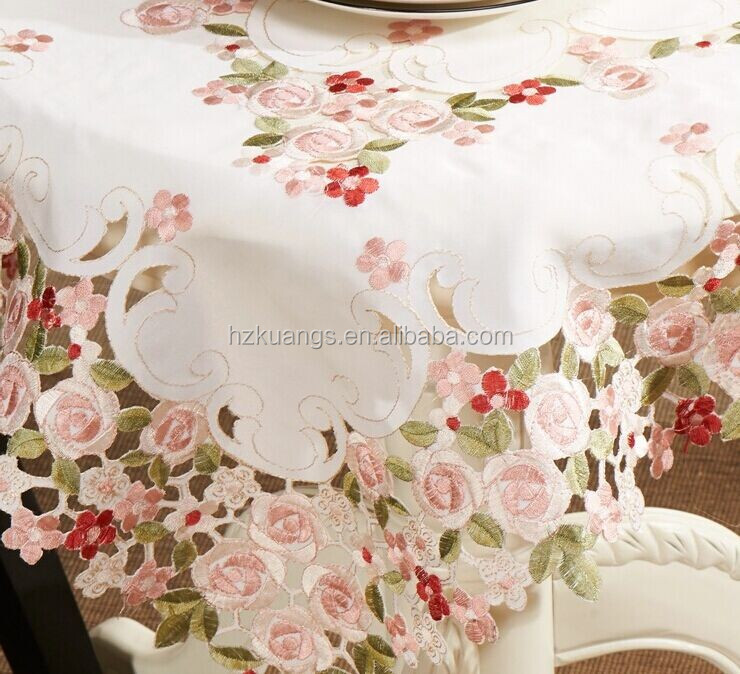cutwork flower embroidered tablecloth