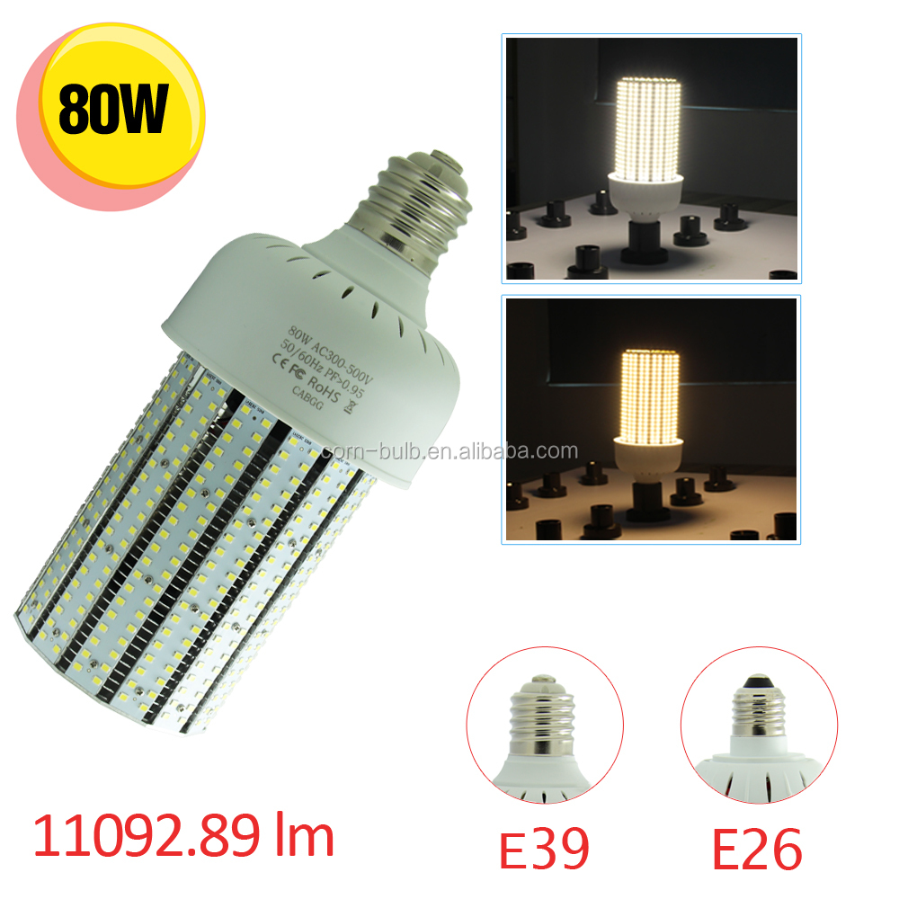 480V 347V 80W Fin E39 E40 LED Warehouse Corn Light bulb Replace 250W MH Hps luminaire
