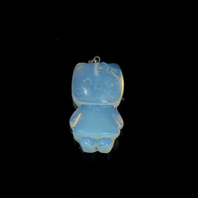 Carved Stone Animals Jewelry, Carton Hello Kitty Cat Pendant For Kid