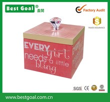 pink wood jewelry box with lid with acrylic handle small gift box