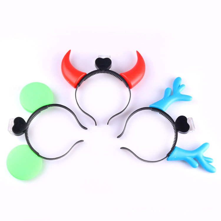 Children glowing toys horn head hoop bow hair hoop flash hairpin hot toys