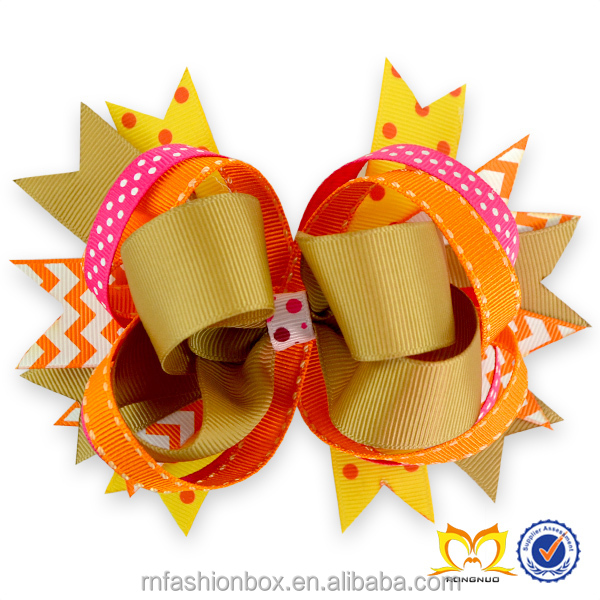 Fancy Children Thanksgiving Hair Bows Baby Girls Ribbon Flowers Headbands Cheerleading Bow with Clips China Cheap Wholesale