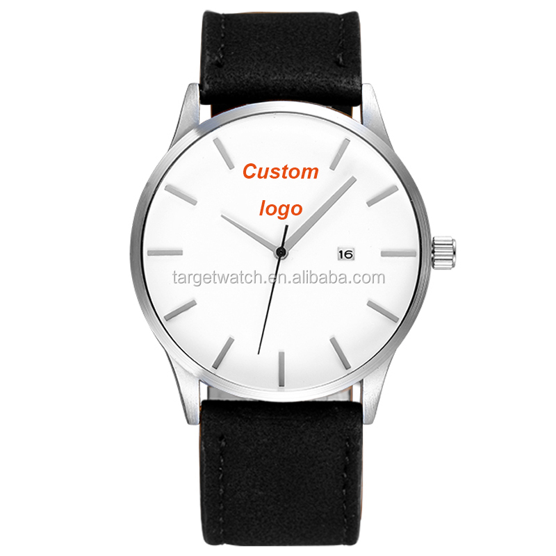 Private Label Watch Life Water Resistant Calender Low MOQ Designer Watches Leather Watches Men Custom Logo