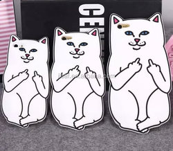 Cute 3D Cartoon Cat Silicone Mobile Phone Case For iPhone5 5S 6 6Plus