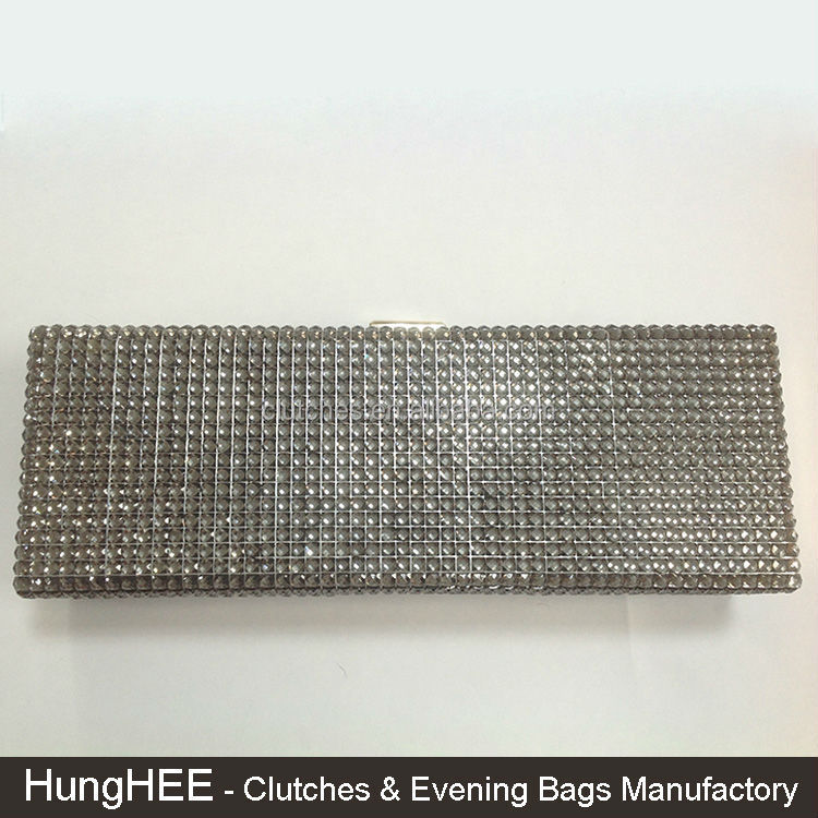Hard Case Box Fully Crystal Evening Purses Rhinestone Crystal Clutch Bag