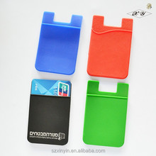 Silicone 3m sticker smart wallet mobile card holder for credit card