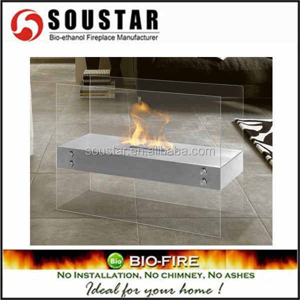 2015 newest creative free standing glass fireplaces