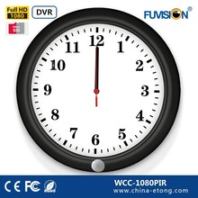 Fashional Wall clock wireless remote control micro dvr mini camera support PIR/TF card
