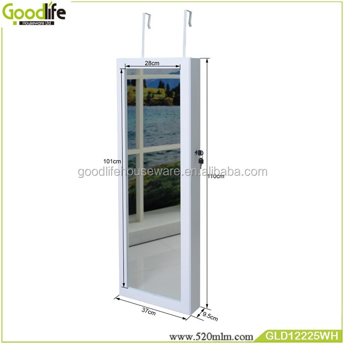 Goodlife top sale wall hanging jewelry armoire with mirror in white