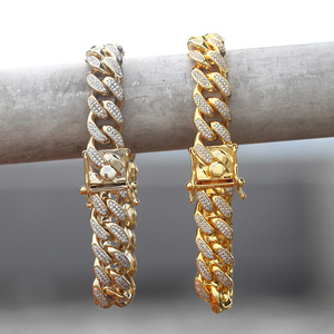 Miami cuban link gold hand chain bracelet gold plated 18k italian gold bracelet