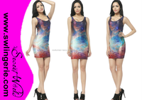 2015 summer fashion Women new Vest tops sleeveless GALAXY RAINBOW TANK DRESSES space colorful sky dress