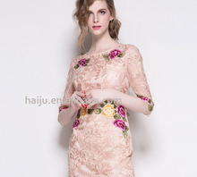 Elegant mid-sleeve lace paris frock design new collection dress
