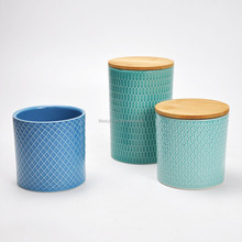 Domestic Ceramic Kitchen Canister With Bamboo Lid and Silicone Ring