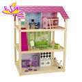 2018 New arrival America style wooden pink doll house for girls W06A278