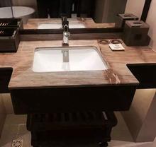 China Hersteller Low Price Modernen Neuen Stil Barcelona Gold Farben Marmor  Waschtischplatte Designs Mit Waschbecken Für