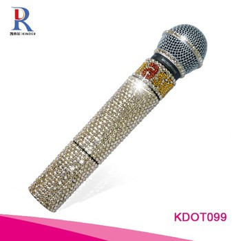 Best selling Rhinestone wireless microphone for professional karaoke audio system