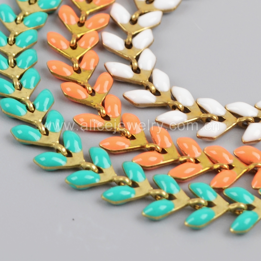 Enamel Brassjewelry <strong>chain</strong>, fish tail <strong>chain</strong> by the foot double sided enamel