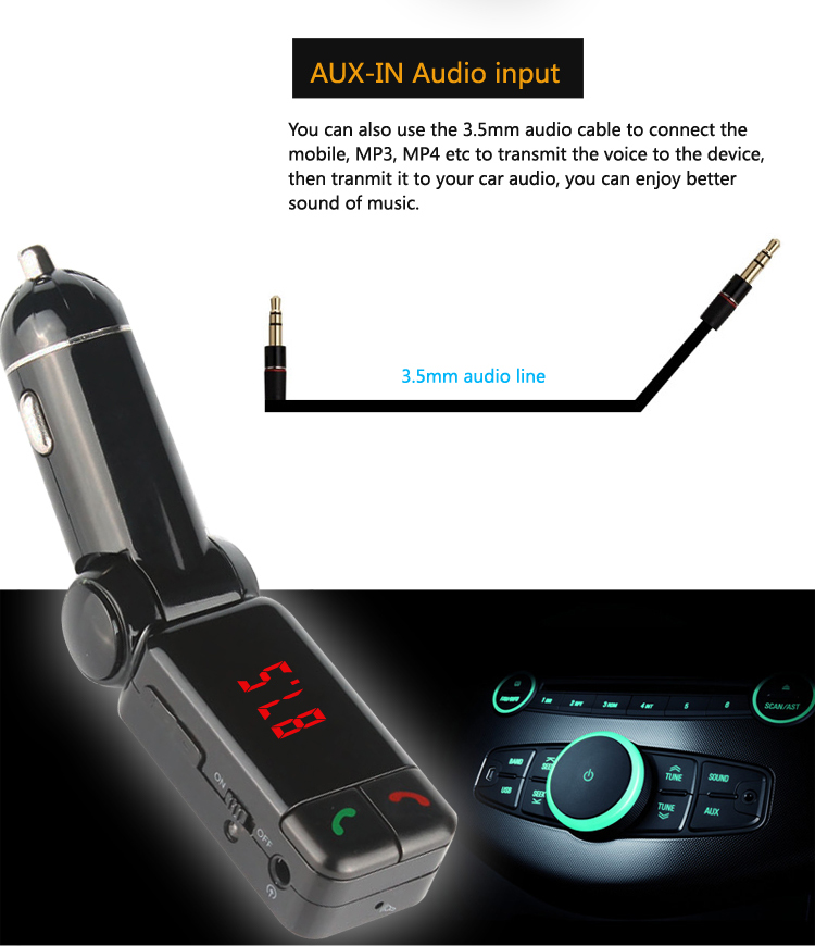 GXYKIT Hot selling Bluetooth wireless Car MP3 Player BC06 With LED Display Handsfree Car Kit