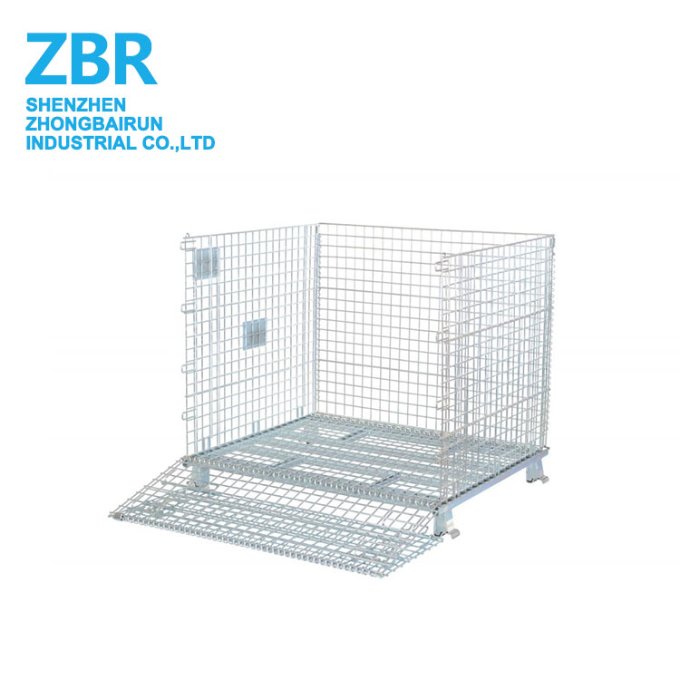 High Quality Steel Wire Mesh Pallet Cage Container Firewood Cage for Cargo Storage