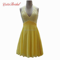 V Neck Halter Homecoming Dresses Crystals Beaded Aline Short Yellow Cocktail Dresses