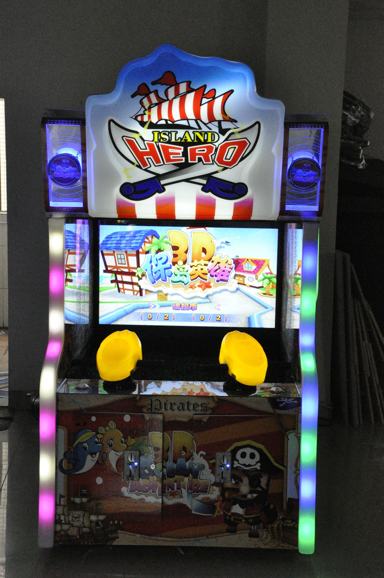 NQN-026 kids video arcade game machine water shooting island Hero lottery redemption game for sale