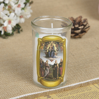 Wholesale In Stock Small Glass Candle With Variety of Designs Saints Picture