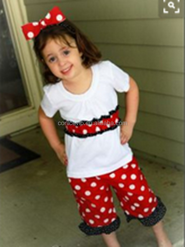 Gorgeous Conice Cotton Kids Outfits Red White Polka Dots Short Sleeve Top Ruffle Pants 2Pcs