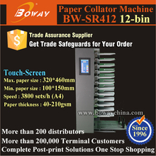 SR412 12-bin Touch Screen 12 Stacks Paper Collating Machine for Book Making Binding