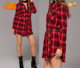 New Model Girl Dress Design Ladies Long Flannel Check Shirt Dress