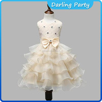 New fashion angel style girl party dress champagne kids girls dresses