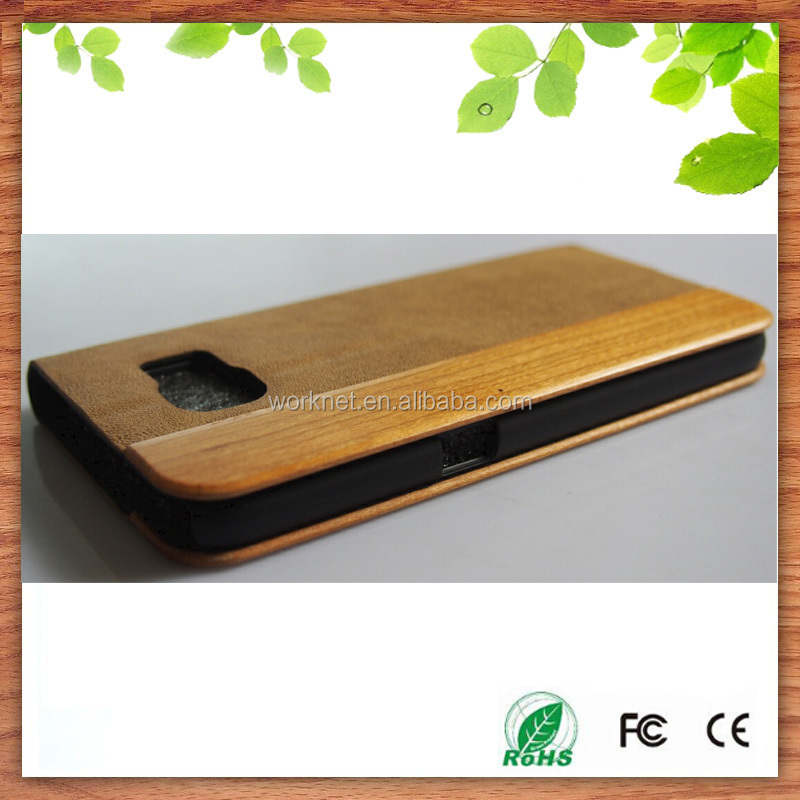 for Samsung Galaxy S6/S6 Edge cherry wood+brown leather wallet flip case hot selling in Etsy