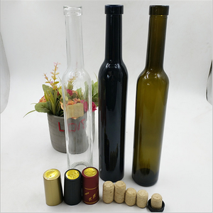375ml dark green or clear glass red wine bottle with cork