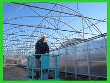 Double inflated plastic film greenhouse