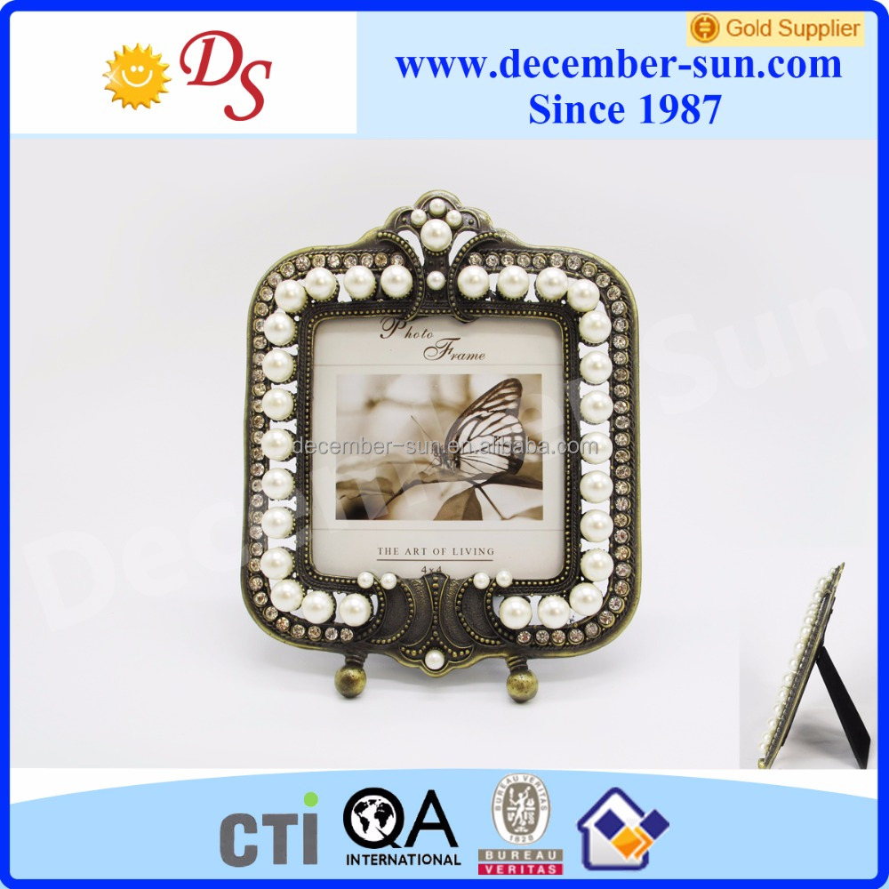 Wholesale new model design pearl shining picture photo frame frame wedding