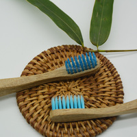 blue nylon brush silk and wood toothbrush, healthy environmental protection, biodegradable bamboo toothbrush
