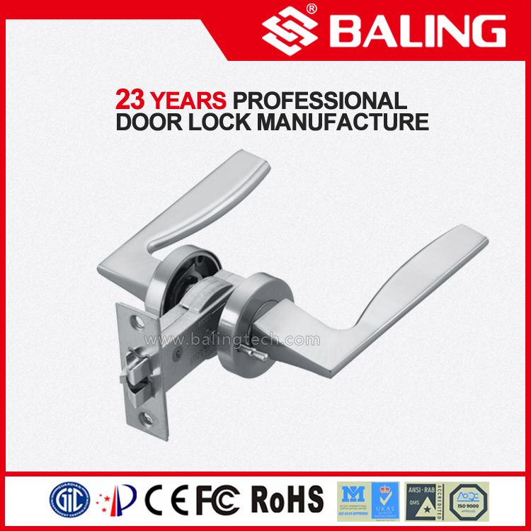 YTW81155 zinc, stainless steel entrance bathroom passage dummy door handle lock with pin latch and emergency safe pin