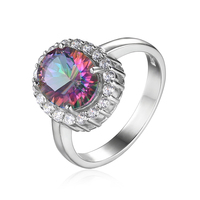 JewelryPalace Natural Mystic Fire Rainbow Topaz