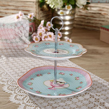 Elegant Fine Porcelain 2 Tier Plate Stand of Ice Cream