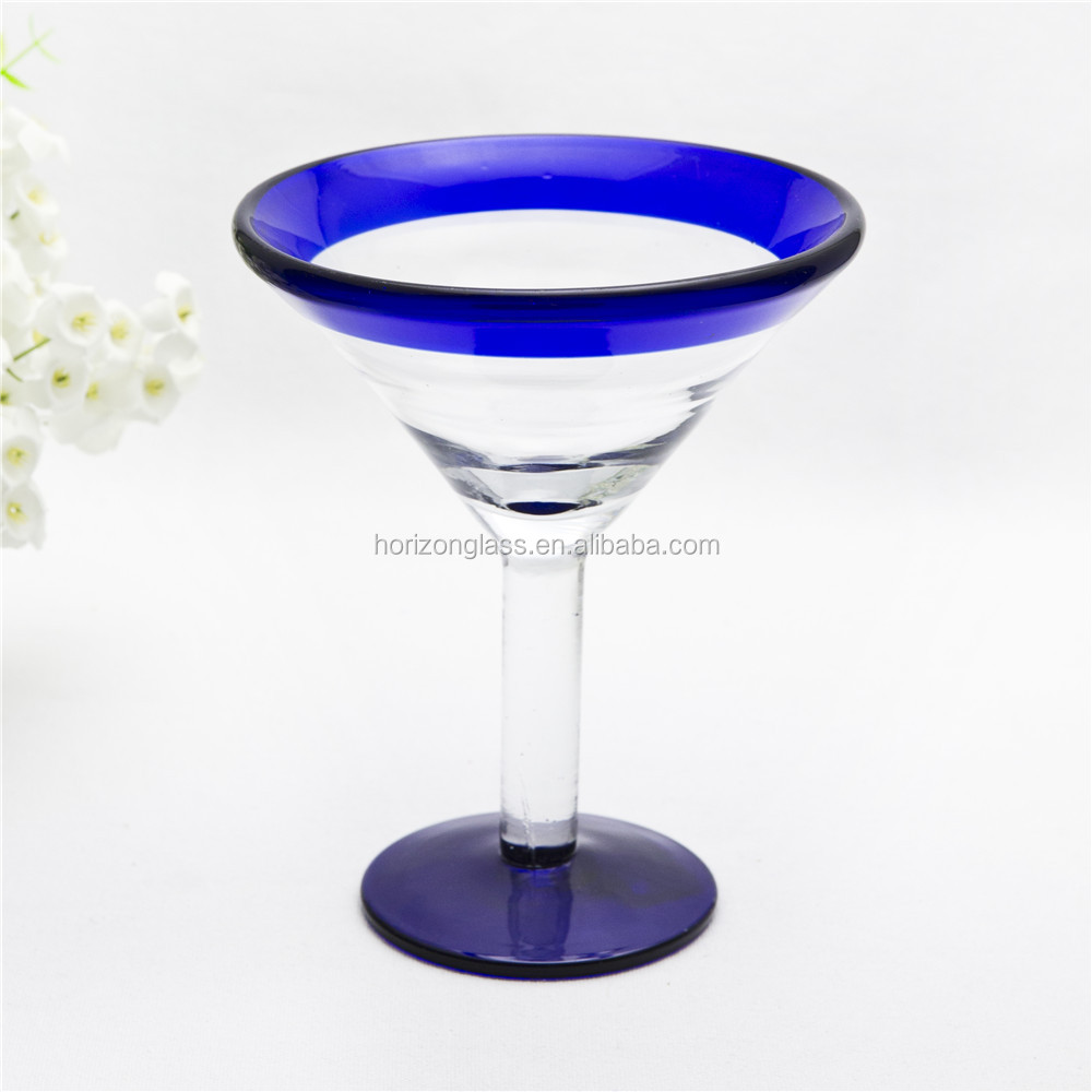 Mexican hand blown martini cocktail glass cobalt blue rim & bottom cocktail glass 10OZ goblet