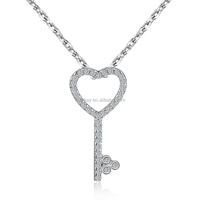 All Kinds Crystal Heart Key Necklace 925 Sterling Silver Jewelry from China Manufacturer