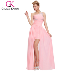 Grace Karin Beaded Short Front Long Back Pink One Shoulder Evening Dress CL3828