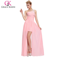 Grace Karin Fashion One Shoulder Beaded Short Front Long Back Pink Evening Dress CL3828