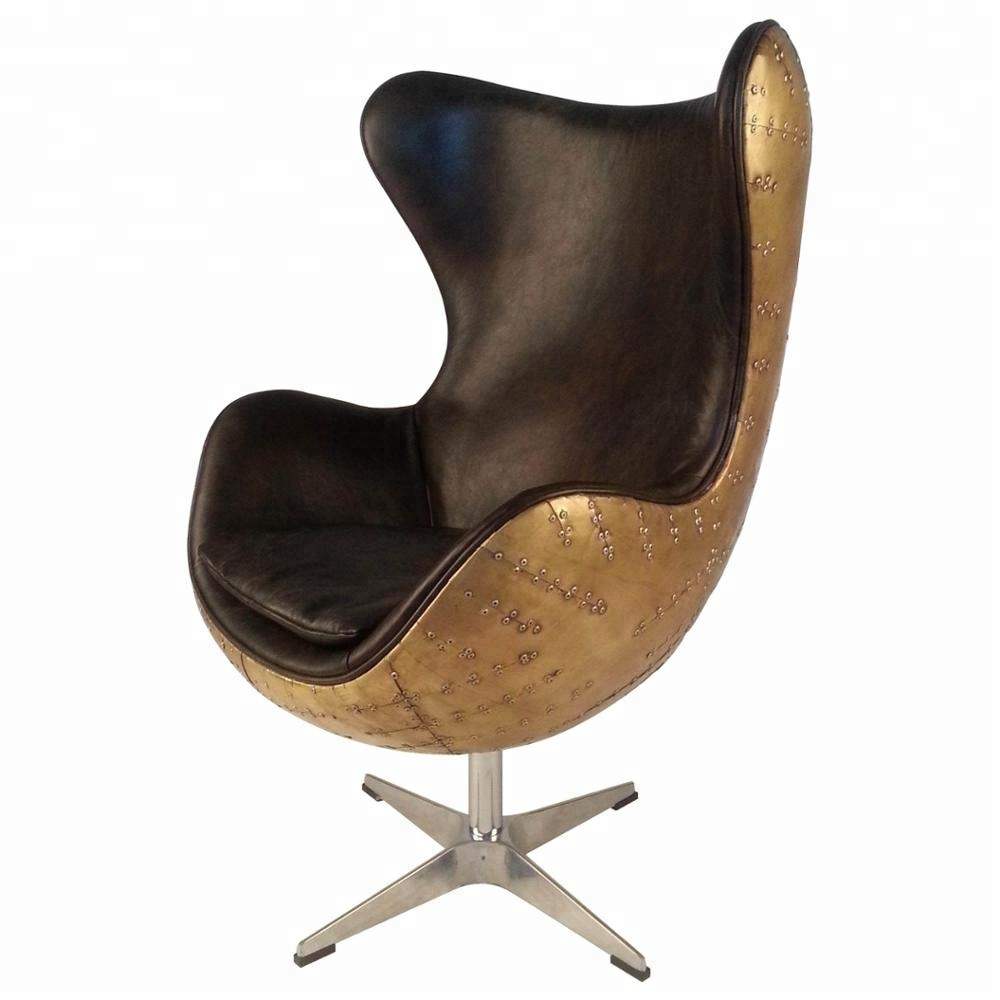 Charmant Brass Antique Real Cowhide Leather Aviation Retro Egg Chair